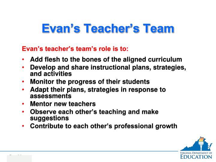 Evan's Teacher's Team