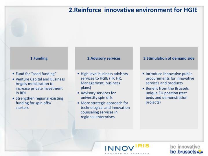 2.Reinforce  innovative environment for HGIE
