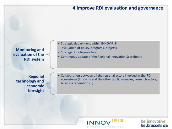 4.Improve RDI evaluation and governance