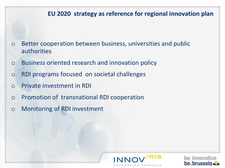 EU 2020  strategy as reference for regional innovation plan