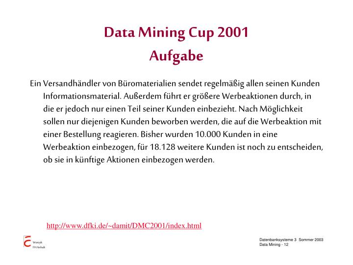 Data Mining Cup 2001