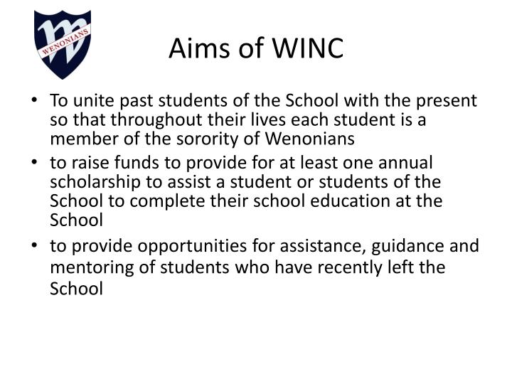 Aims of winc
