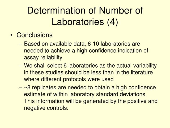 Determination of Number of Laboratories (4)