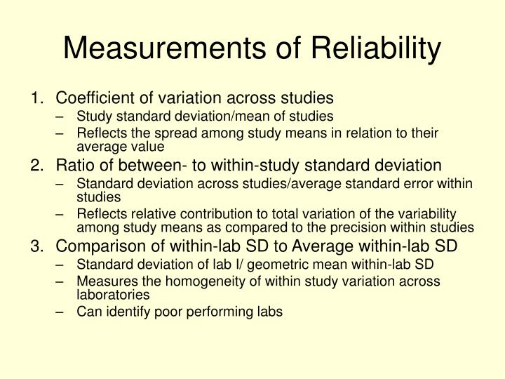 Measurements of Reliability