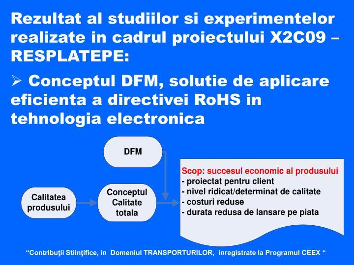 Rezultat al studiilor si experimentelor realizate in cadrul proiectului X2C09 – RESPLATEPE: