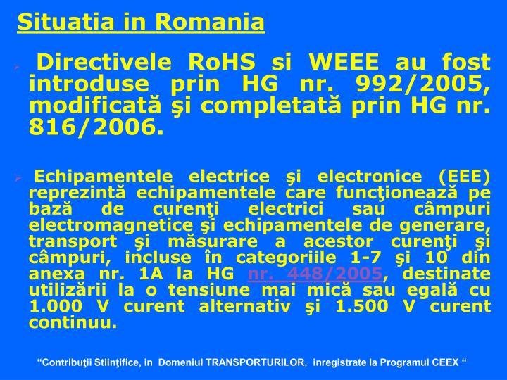 Situatia in Romania