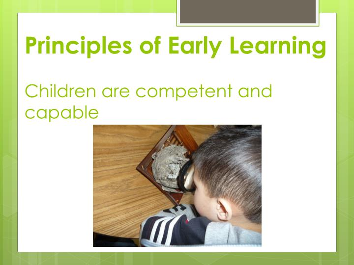 Principles of Early Learning