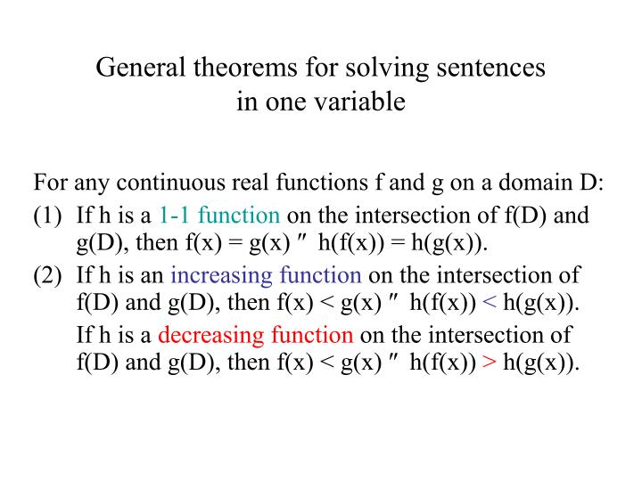 General theorems for solving sentences