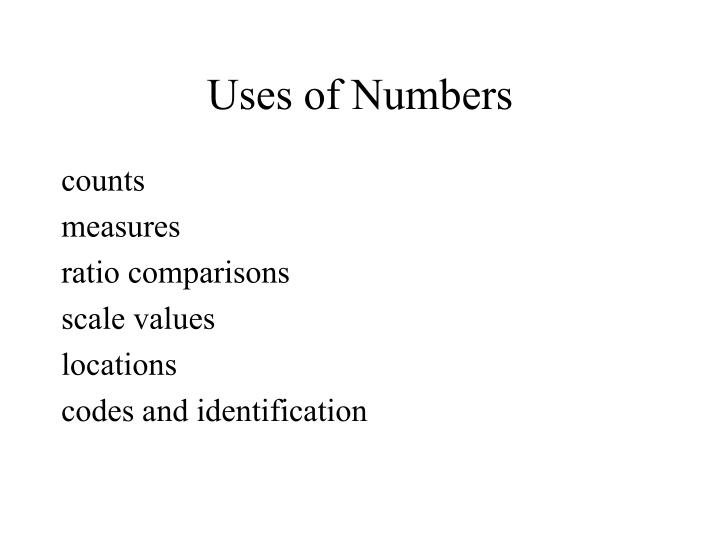 Uses of Numbers