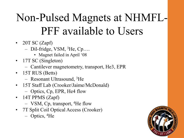 Non-Pulsed Magnets at NHMFL-PFF available to Users