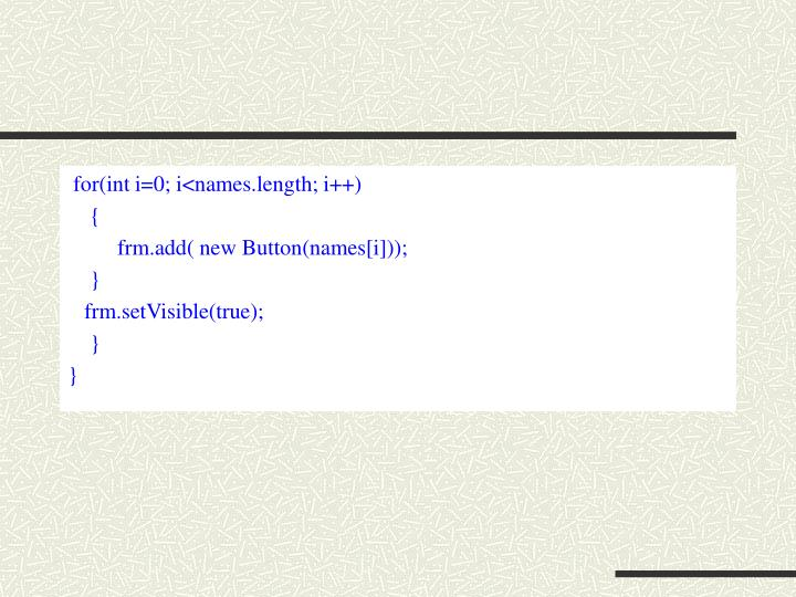 for(int i=0; i<names.length; i++)