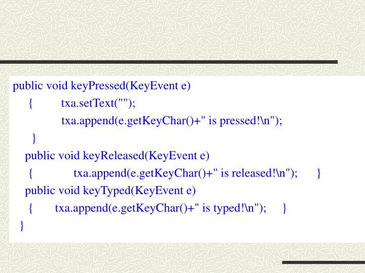 public void keyPressed(KeyEvent e)