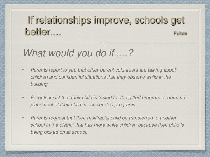 If relationships improve, schools get better....