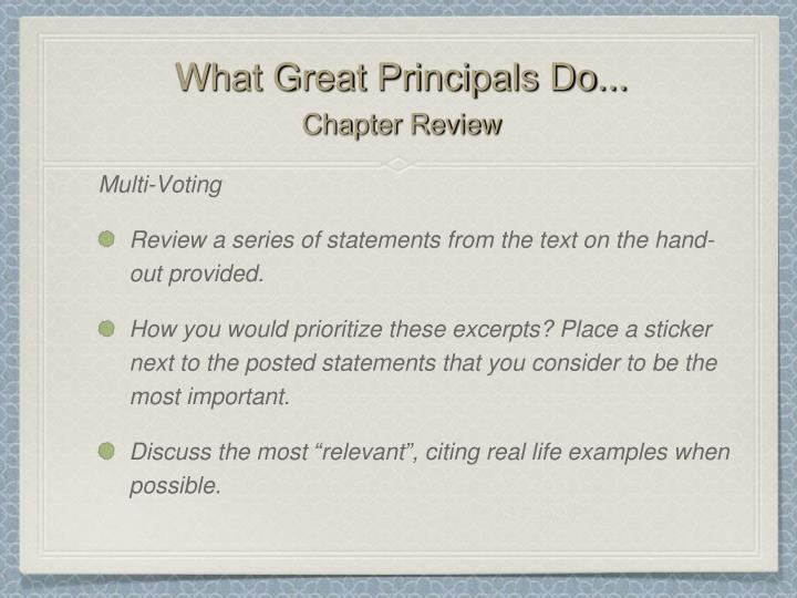 What great principals do chapter review1
