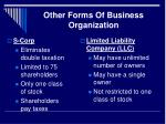 other forms of business organization