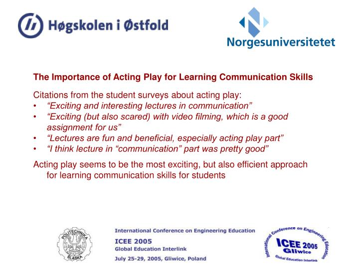 The Importance of Acting Play for Learning Communication Skills