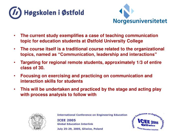 The current study exemplifies a case of teaching communication topic for education students at Østf...