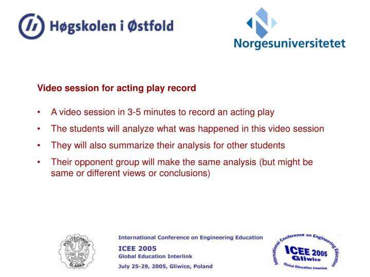 Video session for acting play record
