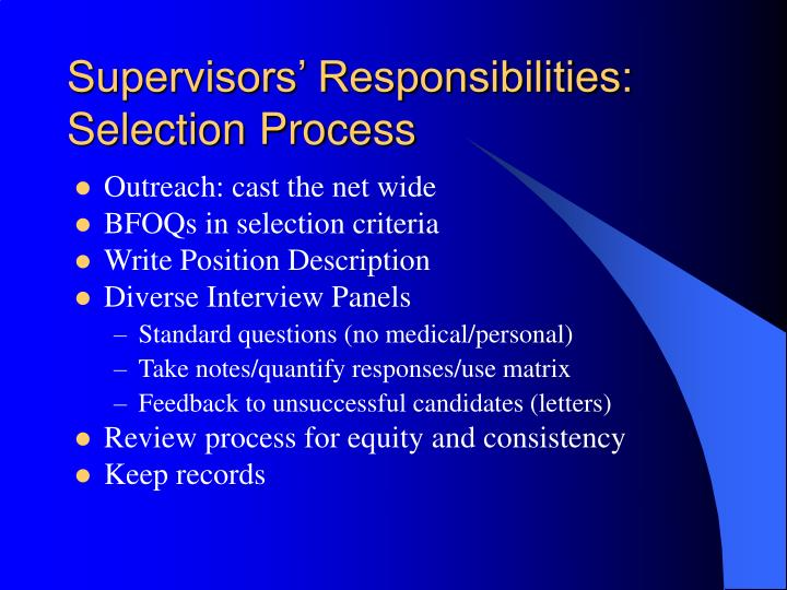 Supervisors' Responsibilities: Selection Process