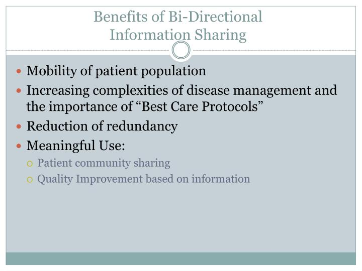 Benefits of Bi-Directional