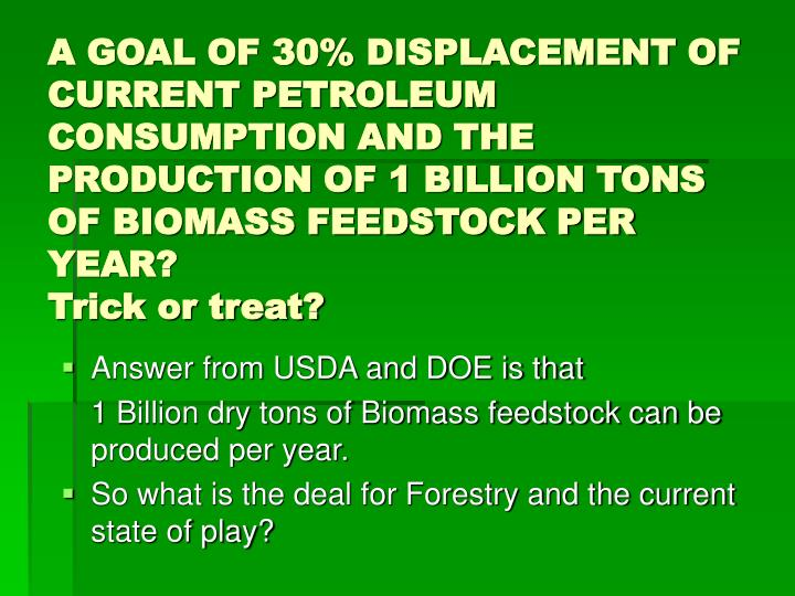 A GOAL OF 30% DISPLACEMENT OF CURRENT PETROLEUM CONSUMPTION AND THE PRODUCTION OF 1 BILLION TONS OF BIOMASS FEEDSTOCK PER YEAR?