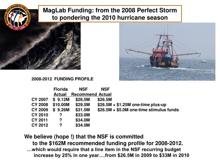 MagLab Funding: from the 2008 Perfect Storm