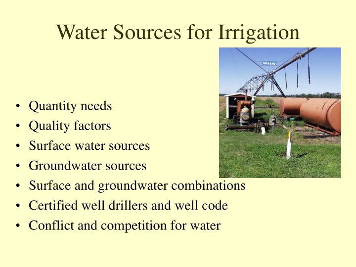 water sources for irrigation n.