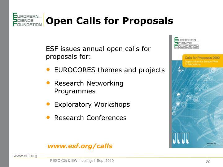 Open Calls for Proposals