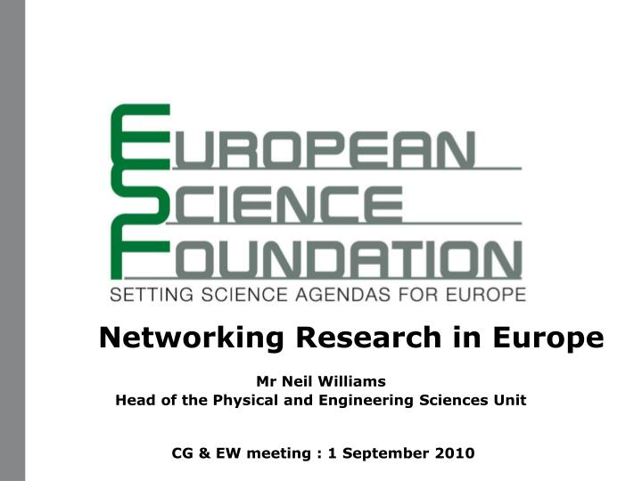 Networking Research in Europe