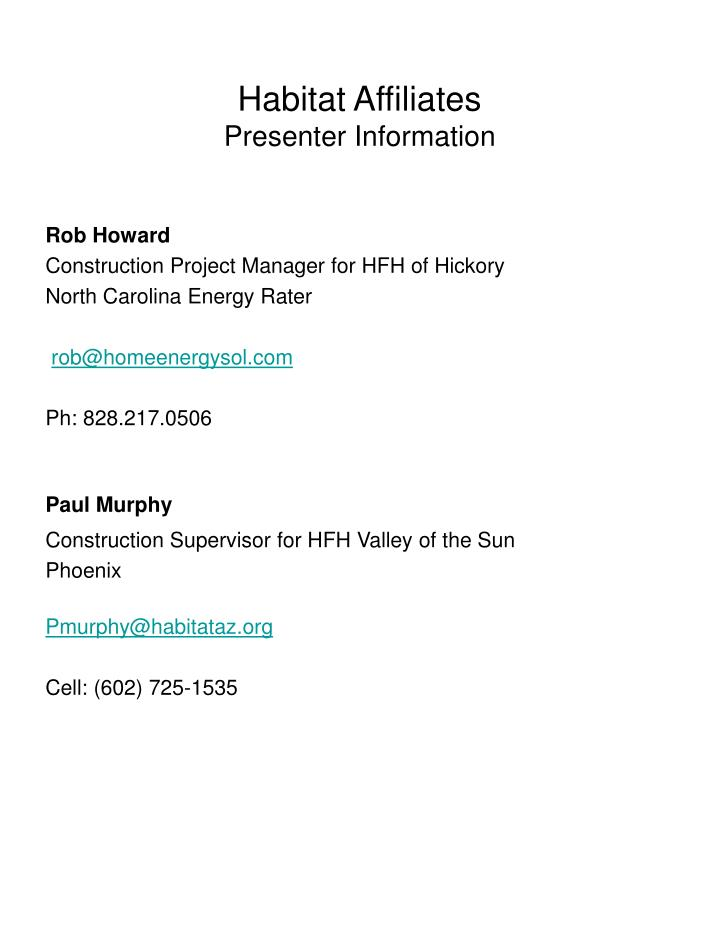 Habitat affiliates presenter information