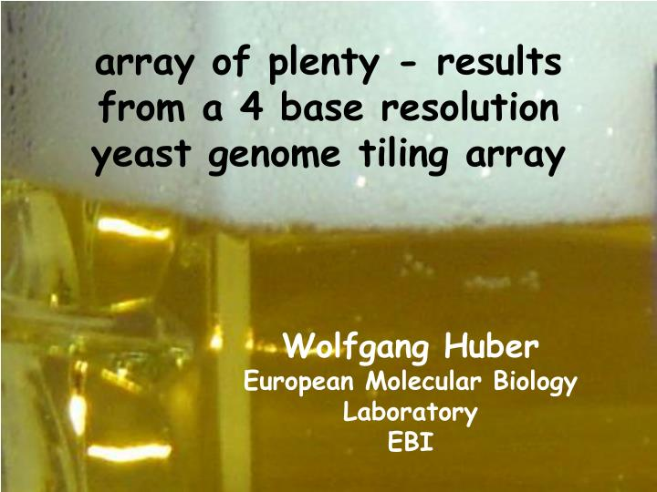 array of plenty results from a 4 base resolution yeast genome tiling array n.