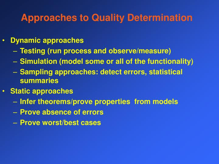 Approaches to Quality Determination