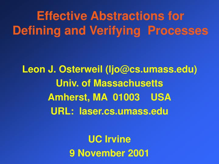 Effective abstractions for defining and verifying processes