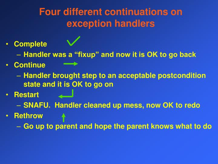Four different continuations on exception handlers