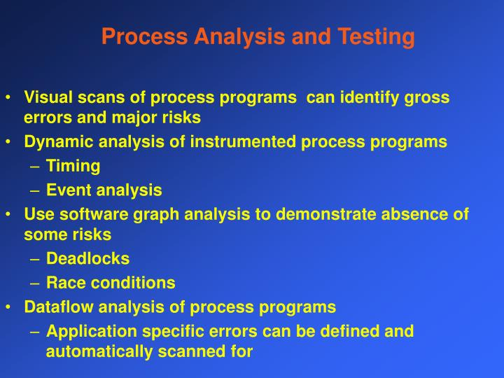 Process Analysis and Testing
