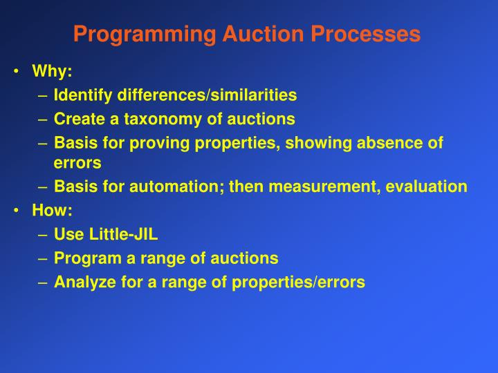 Programming Auction Processes