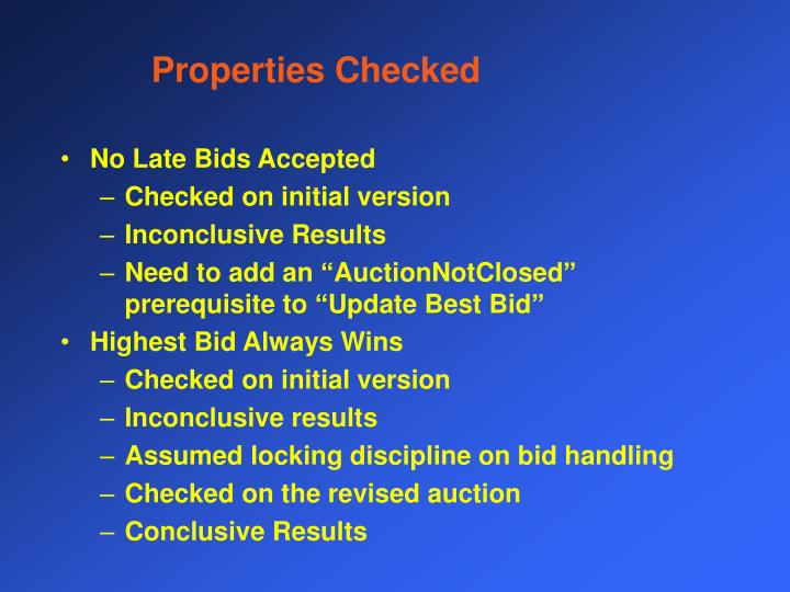 Properties Checked