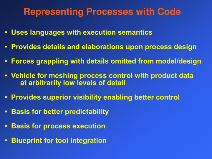 Representing Processes with Code