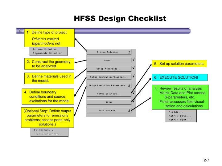 HFSS Design Checklist