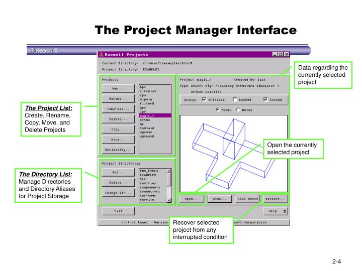 The Project Manager Interface