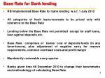 base rate for bank lending