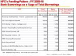 hfc s funding pattern fy 2009 10 bank borrowings as a age of total borrowings