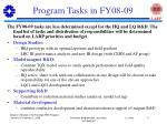 program tasks in fy08 09