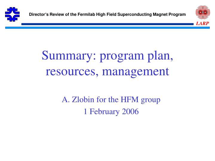 summary program plan resources management