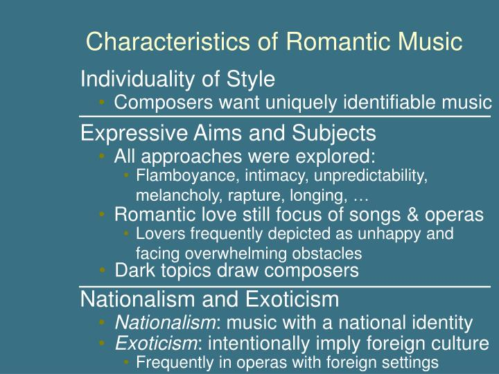 romantic period of music essay Relationship analysis of the baroque and romantic art movements essay relationship analysis of the baroque many of the music compositions from this period.