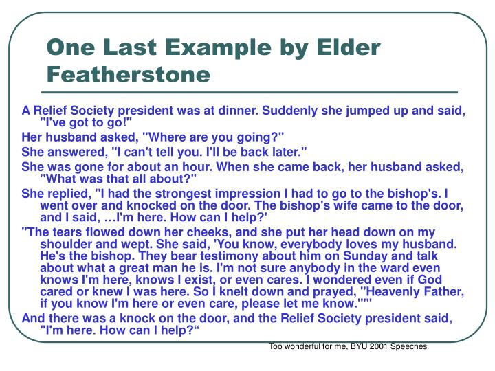 One Last Example by Elder Featherstone