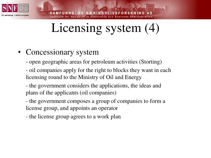 Licensing system (4)