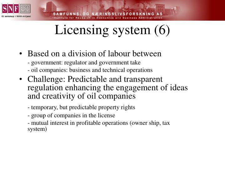 Licensing system (6)