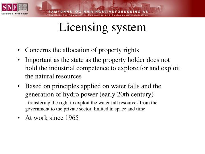 Licensing system