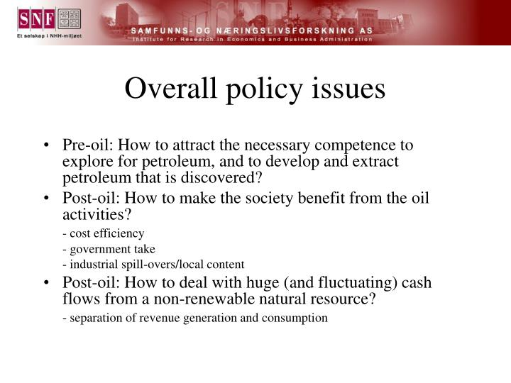 Overall policy issues